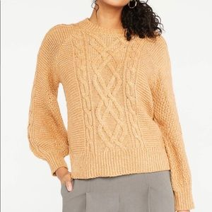 ANN TAYLOR - Puff Sleeve Cable Sweater